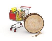 3d购物车和赖买丹月鼓 库存图片