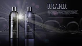 3D黑现实化妆产品香波瓶包裹模板 图库摄影