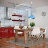 3d - 现代厨房内部-击出的30 图库摄影