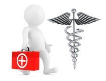 3D医生与银色医疗众神使者的手杖标志的Character 3d烈 免版税库存图片