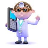 3d医生在一个手机聊天 免版税库存图片