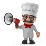3d滑稽的与扩音机的动画片意大利薄饼厨师字符 图库摄影