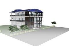 3D建筑学办公楼 免版税库存图片
