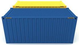 3D货箱的例证在白色隔绝的 库存照片