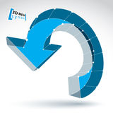 3d滤网在白色背景的更新标志,装饰蓝色r 免版税库存图片