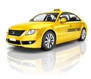 3D黄色出租汽车的图象 免版税库存照片