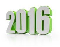 3d - 2016年-绿色白 免版税库存图片