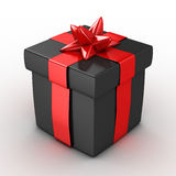 3d黑色礼物盒- 图库摄影