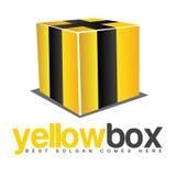 3D黄色箱子黑色镶边商标 免版税库存照片
