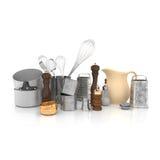 3d - 葡萄酒减速火箭的厨房设备 免版税库存图片