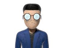 3D崩裂的漫画人物 向量例证
