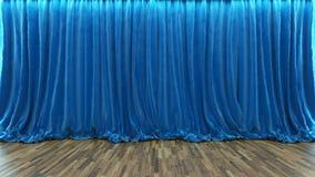 3d翻译与蓝色帷幕和木地板的剧院阶段 免版税库存照片