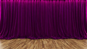 3d翻译与紫色帷幕和木地板的剧院阶段 库存图片