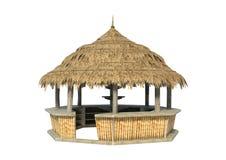 3D翻译在白色的海滩酒吧 库存照片