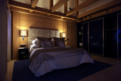 3D翻译山的卧室房子 库存图片