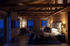 3D翻译山的卧室房子 库存照片