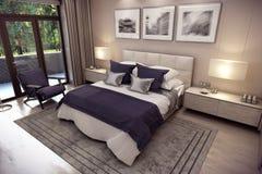 3D翻译山的卧室房子 免版税库存图片