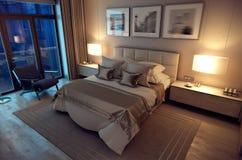 3D翻译晚上卧室房子在森林里 免版税库存照片