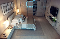 3D翻译晚上卧室房子在森林里 免版税图库摄影
