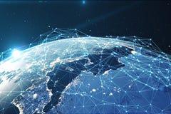 3D翻译网络和数据交换在空间的行星地球 在地球地球附近的连接线 全球 向量例证