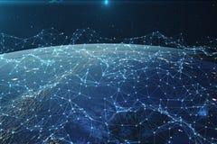 3D翻译网络和数据交换在空间的行星地球 在地球地球附近的连接线 全球 免版税图库摄影