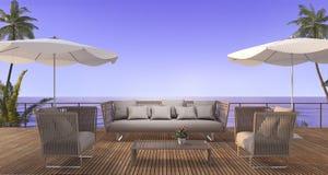 3d翻译葡萄酒在木大阳台的海滩沙发在暮色场面的海附近 库存图片