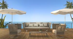 3d翻译葡萄酒在木大阳台的海滩沙发在海附近在夏威夷在夏天 库存照片