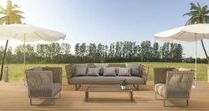 3d翻译葡萄酒在木大阳台的海滩沙发在绿色领域森林附近 库存照片
