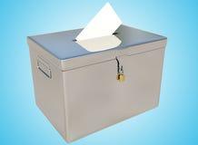 3D翻译金属投票箱和表决卡片在一个蓝色梯度 免版税库存照片