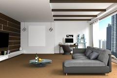3D翻译:客厅室内设计的例证与黑暗的沙发的 空白框架照片 架子和白色墙壁 库存照片