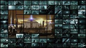 3d翻译 有未来派古城的录影墙壁 向量例证