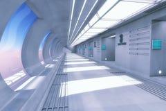 3d翻译 未来派空的内部 免版税库存图片