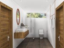 3d翻译黄铜和木头称呼卫生间和休息室 库存照片