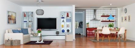 3d - 豪华现代顶楼公寓-全景-击出的01 免版税库存照片