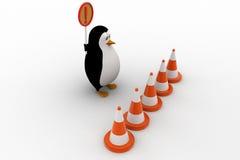 3d从进入和举行停车牌概念的企鹅中止 免版税库存照片