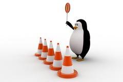 3d从进入和举行停车牌概念的企鹅中止 免版税库存图片