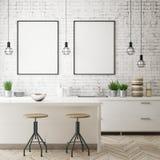 嘲笑海报框架在厨房内部背景,斯堪的纳维亚样式, 3D中回报