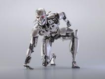 机器人靠机械装置维持生命的人人,人工智能技术概念 3d例证 库存图片