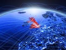 蓝色数字行星地球上的英国与代表通信、旅行和连接的国际网络 3d 库存图片