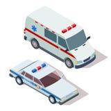 救护车和警车3d等量传染媒介 皇族释放例证