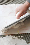 D. O-it-yourself tile installation Stock Photos
