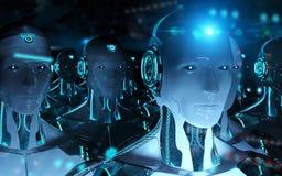 跟随领导靠机械装置维持生命的人军队3d翻译的小组男性机器人 向量例证