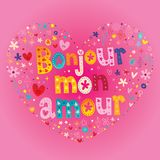 Bonjour mon amour - Hello my love in French. Heart shaped type lettering vector design vector illustration