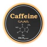咖啡因 化学式,分子结构 3D在白色背景隔绝的翻译 皇族释放例证