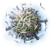 3d?? 作为概念的行星为混乱都市生活 向量例证