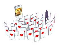 Смотрят, что телефон блоггера 3d представляют телефоны успешной концепции блога полноэкранные телезрителей с подобиями на белизне иллюстрация штока