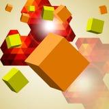 Абстрактная предпосылка кубиков 3d. Стоковое Изображение RF