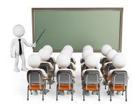 3D白人。类的学生 免版税库存图片