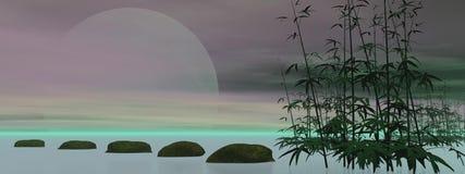 绿色禅宗- 3D回报 免版税库存图片