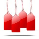 бирки красного цвета цены иллюстрации 3d иллюстрация вектора